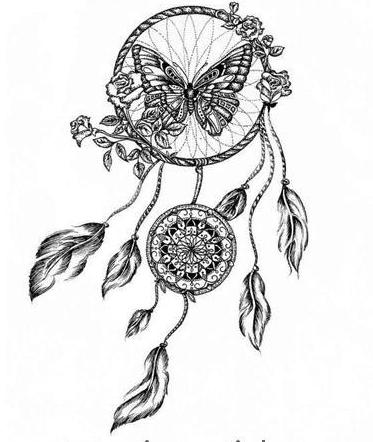 Dibujo de atrapasueños en blanco y negro